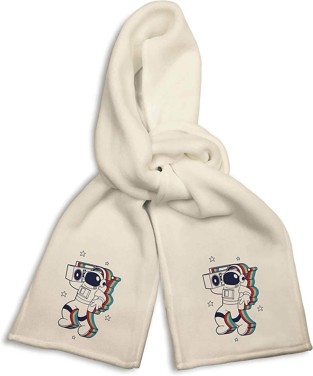White Winter Scarf - Rockin Space Man Astronaut w/Boombox Colorful