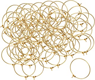 Shapenty 25MM Silver Plated Wine Glass Charm Rings DIY Craft Earring Open Beading Hoop Jewelry Making Findings Wedding Par...