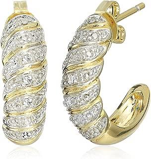 Two-Tone Diamond Accent Half Hoop Earrings