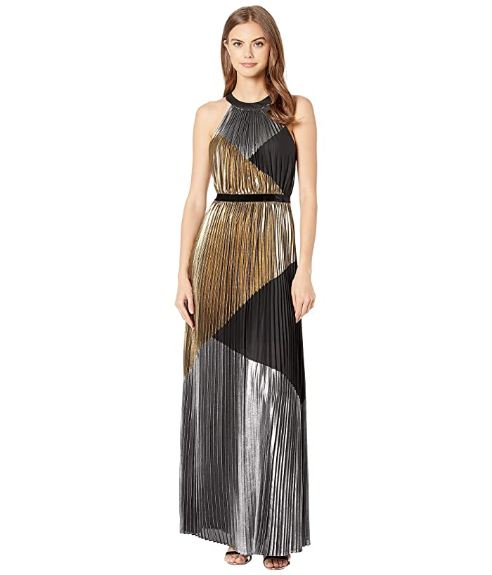 70s Prom, Formal, Evening, Party Dresses BCBGMAXAZRIA Metallic Color Block Pleated Gown Silver Combo Womens Dress $448.00 AT vintagedancer.com