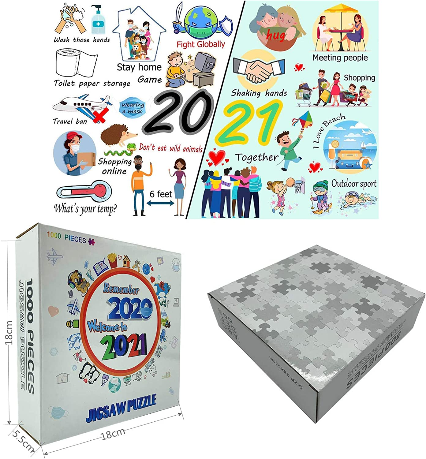 2020 to 2021 Jigsaw Puzzles for Adults, Kids, Paper Puzzles with Friend Family for Children Home Game Educational Toys 2021 Happy New Year, 1000 Pieces