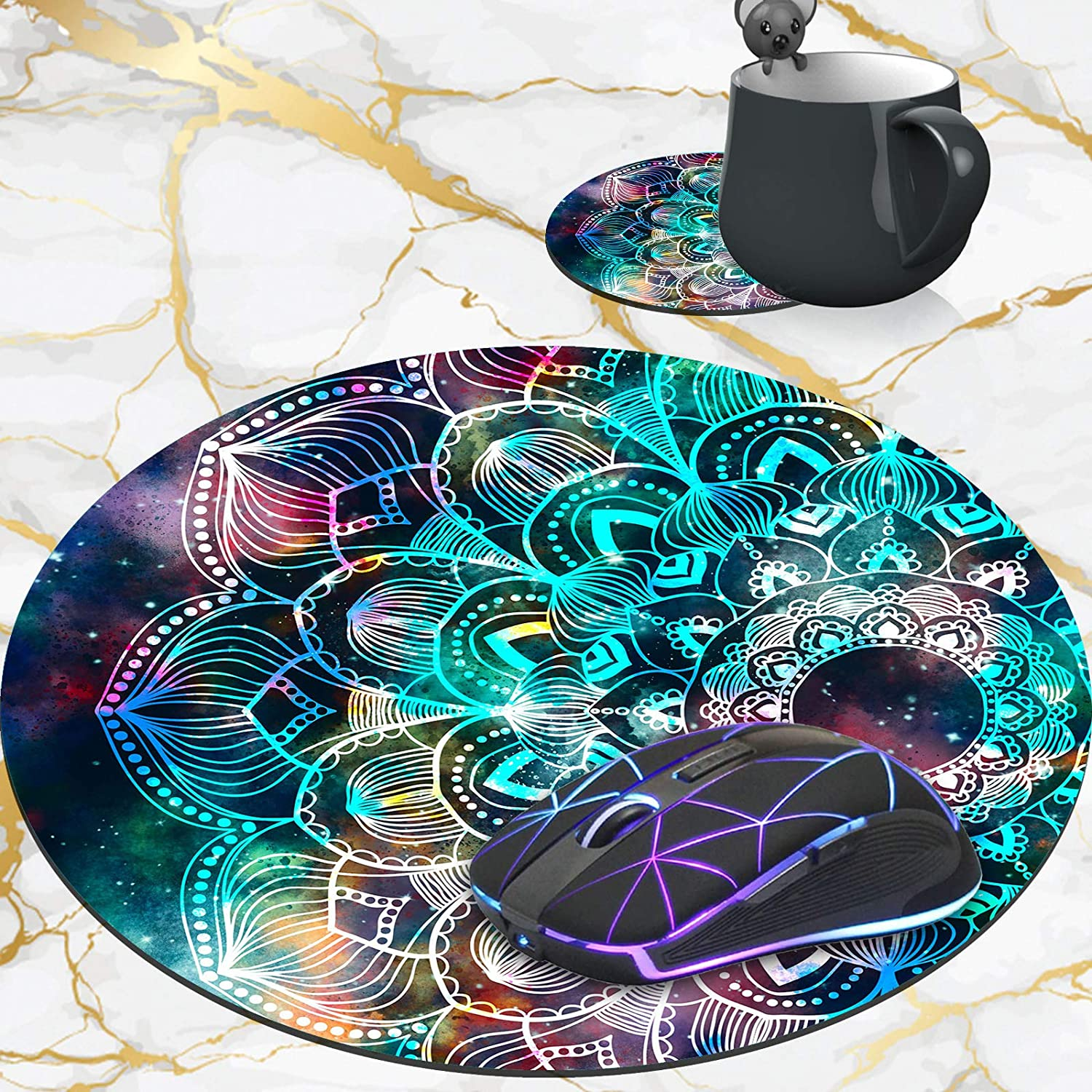 Personalized Round Mouse Pad and Weekly update Coaster Indefinitely Set Mandala M Galaxy in
