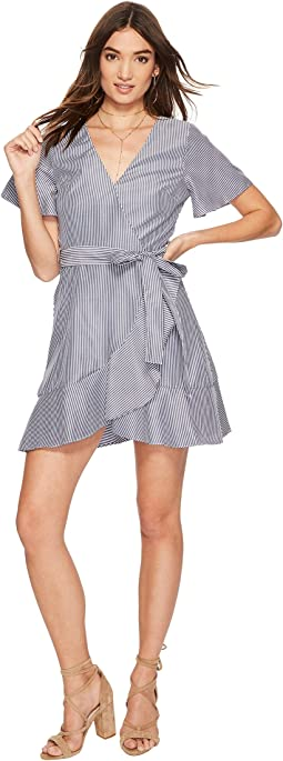 J.O.A. - Flare Sleeve Wrap Dress with Waist Tie