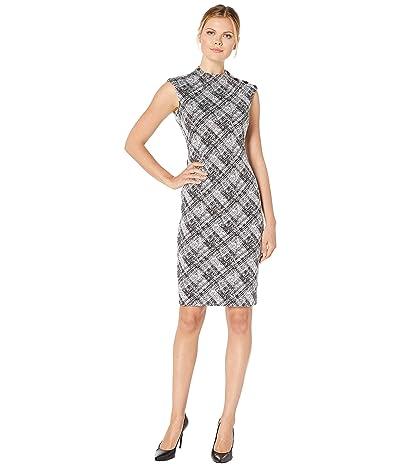 Calvin Klein High Neck Ponte Sheath Dress with Shoulder Button Detail (Black/Cream) Women