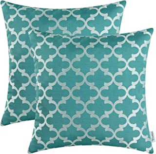 CaliTime Pack of 2 Soft Throw Pillow Covers Cases for Couch Sofa Home Decoration Modern Quatrefoil Trellis Geometric 18 X 18 Inches Teal