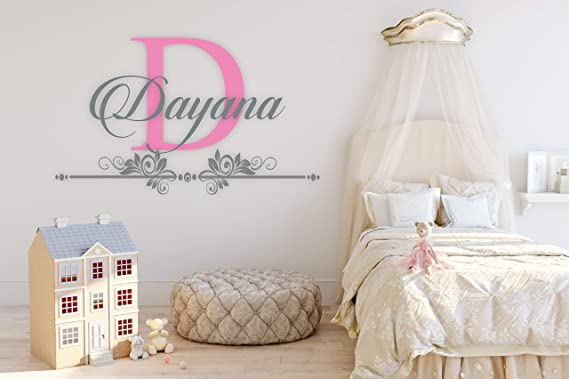 1070 Baby Girl Decoration Mural Wall Decal Sticker For Home Interior Decoration Car Laptop Custom Name /& Initial Moon