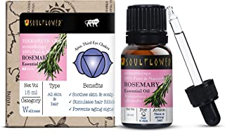 Soulflower Rosemary Essential Oil, 15ml for Hair Growth, Long, Shining & Strong Hair, Hydrating & Moisturising Skin, For S...