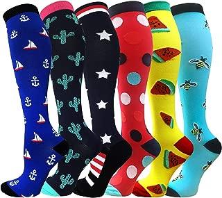 Compression Socks Women & Men 20-30 mmHg (1/3/6 Pairs), Best Athletic & Medical Running Flight Travel Pregnant