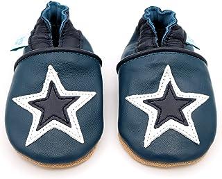 Dotty Fish Chaussures Cuir Souple bébé et Bambin. 0-6 Mois - 4-5 Ans. Pantoufles pour garçons avec Voitures et Animaux.