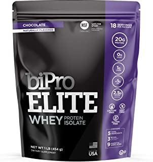 BiPro Elite 100% Whey Isolate Protein NSF Certified, Chocolate, 1 Pound