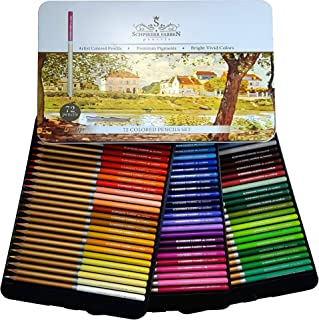 SCHPIRERR FARBEN 72 Color Pencil Set Professional Named and Numbered, Oil Based Soft Core, Ideal For Adult Crafts, Artist...