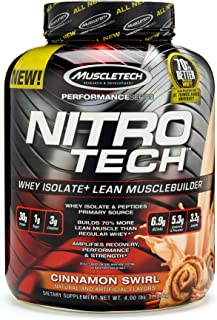 MuscleTech NitroTech Protein Powder, 100% Whey Protein with Whey Isolate, Cinnamon Swirl, 4 Pound