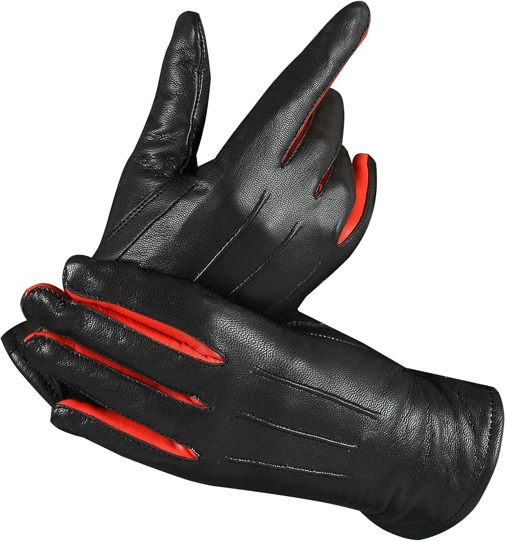 Women Winter Genuine Leather Dress Gloves Driving Winter Fashion Warm Thinsulate Fleece Lining Mittens