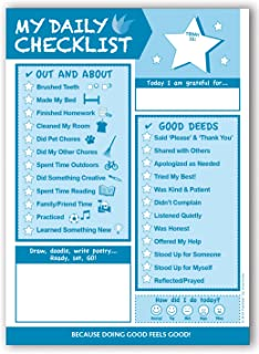 Kids Daily Checklist Pad by InnerGuide - 90 Day - 6.5 x 9 - Turquoise - Kids Planner