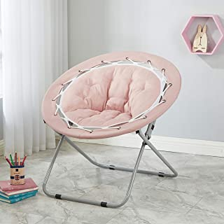 Add a Fun,Cozy Touch to Dorm Rooms,Lofts,Reading Nooks,Bedroom and More with Trendy,Comfortable,Foldable and Durable Web Saucer Chair,Blush
