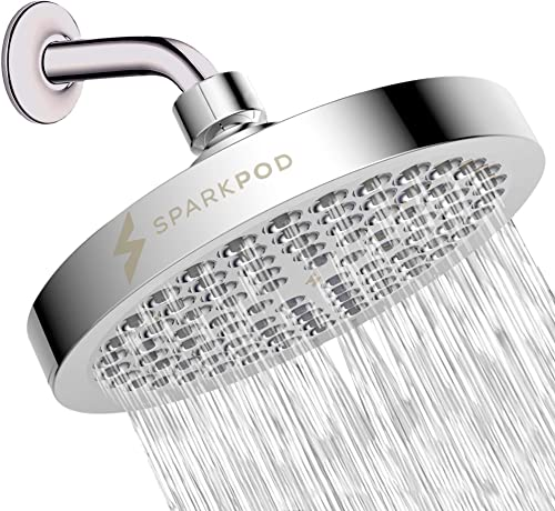 SparkPod Shower Head - High Pressure Rain - Luxury Modern Chrome Look - Easy Tool Free Installation - The Perfect Adj...