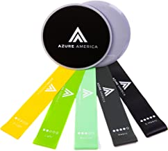 Azure America PREMIUM 5 Exercise Resistance Loop Bands & 2 Gliding Core Disk Sliders - Perfect For Abs, Core, Glutes Exercise, Fitness, Yoga, Pilates, Stretching, Full Body Workout - Ultra Durable
