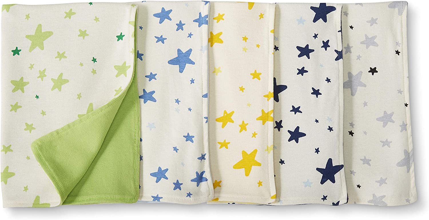 Moon and Back by Hanna Andersson Unisex Baby Burp Cloths- Reversible 5-pack Organic Cotton