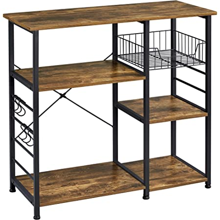 Yaheetech Baker's Rack Industrial Kitchen Island Microwave Storage Rack with Metal Mesh Basket Shelves and 6 Hooks, 90X39X84cm, Standing Coffee Bar Table Metal Frame