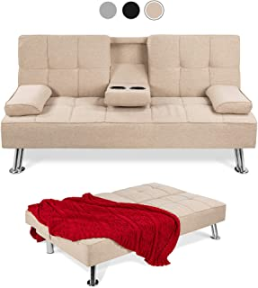 Best Choice Products Linen Upholstered Modern Convertible Folding Futon Sofa Bed for..