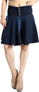 FCK-3 Women's Designer Umbrella Flare Stretchable Denim Skirt
