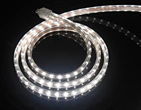 CBconcept UL Listed, 65 Feet, 7200 Lumen, 4000K Soft White, Dimmable, 110-120V AC Flexible Flat LED Strip Rope Light, 1200 Units 3528 SMD LEDs, Indoor Outdoor Use, Accessories Included, Ready to use