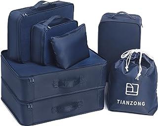 مجموعة من 7 قطع من تيانزونج، حقائب سفر للأمتعة، منظمات التعبئة مع حقيبة أحذية (أزرق داكن)