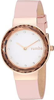 RumbaTime Women's 'Santa Monica' Quartz Stainless Steel and Leather Casual Watch, Color:Pink (Model: 26948)