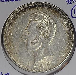 1944 EC E0050 Ecuador 5 Sucres lustrous silver DE PO-01