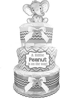 Elephant Diaper Cake - Gender Neutral Baby Shower Gift - Newborn Gift - Gray