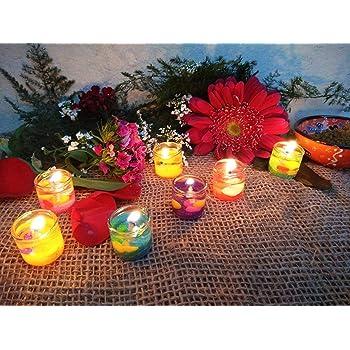 SP Mini Gel Candles for Home Decor, Valentines Celebration, Party (Multicolour) -Set of 12