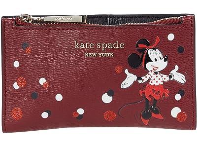 Kate Spade New York Disney X Kate Spade New York Minnie Mouse Small Slim Bifold (Red Multi) Handbags