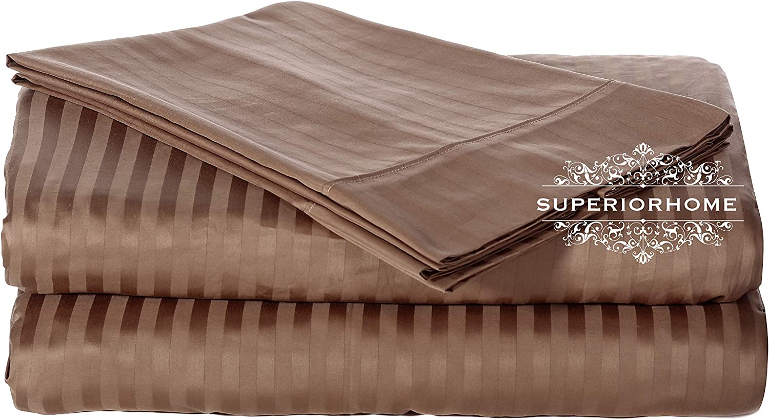 Luxurious 300 Thread Count California King Size Sheet Set,100% Egyptian Cotton Long Staple Yarns, Sateen Weave, 4pc Set  Fitted Flat 2 Pillow Cases, Deep Pocket up to 18 , 300TC Cal-King Stripe Taupe