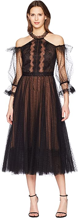 Marchesa Notte Cold Shoulder Point-D'Esprit Tea Length Cocktail