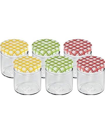 Cabilock per semi colore: Blu//Verde 6 vasetti in vetro con coperchio a rete in plastica 9 x 9 cm versamenti
