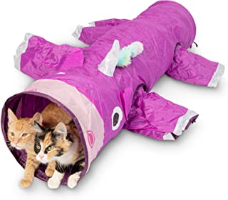 Pet Craft Supply Magic Mewnicorn Multi Cat Tunnel Boredom Relief Toys with Crinkle Feather String for Cats, Rabbits, Kittens, and Dogs for Hiding Hunting and Resting