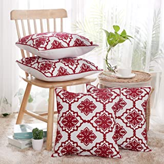 Deconovo Embroidered Throw Pillow Covers Square Cotton Canvas Decorative Cushion Case with Snowflake Pattern Pillow Covers for Sofa Red and White 18x18 Inch Set of 4 No Pillow Insert