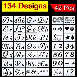 XPCARE Letter Stencils for Painting 134 Designs Alphabet with Calligraphy Font Upper and Lowercase Letters Reusable Holiday Plastic Art Craft Stencils with Numbers and Signs 42 Pcs