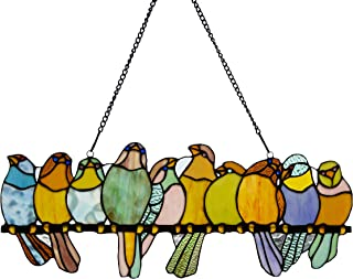 River of Goods Birds on a Wire 9.5 Inch High Stained Glass Suncatcher Window Panel, Pastel