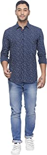 Twills Slimfit Printed Casual Shirt for Men Blue (Size - S)