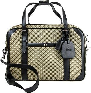 Gucci Men  039 s Briefcase Beige Ebony Diamante Black Leather Trim 267890 9769