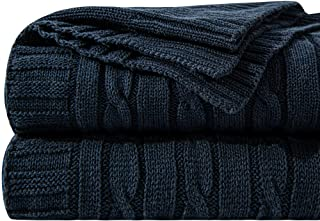 """NTBAY 100% Cotton Cable Knit Throw Blanket Super Soft Warm Multi Color(51""""x 67"""", Navy)"""