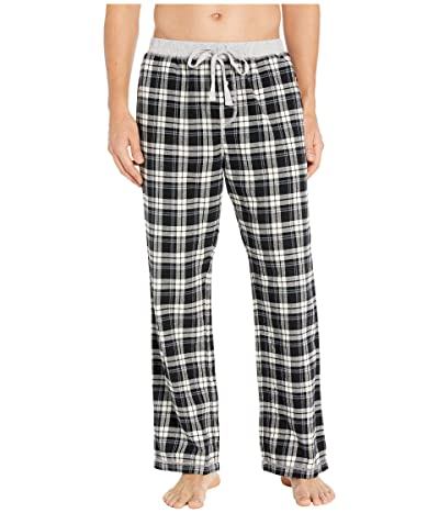 True Grit Melange Crossroads Checks Flannel Pajama Pants with Heather Knit Trim (Black/Grey) Men