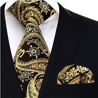 Hisdern Herren Krawatte Blumen Paisley Krawatte & Einstecktuch Set