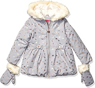London Fog Girls' Faux Fur Bottom and Hood Matte Shimmer Satin Jacket
