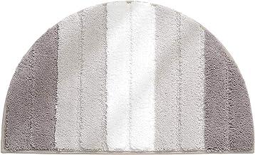 Semi-Ellipse Bathroom Carpet, Microfiber, Non-Slip Absorbent, Gradient Color Stripe Bedroom Door Rug, Entrance Mat,Brown,2...