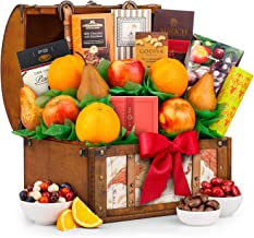 GiftTree Fresh Fruit and Gourmet Treasure Gift Basket | Includes Fresh Pears, Apples, Oranges, Peanut Brittle & More | Reusable Keepsake Trunk | Birthday, Anniversary or Thank You Gift