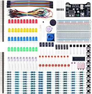 ELEGOO Electronic Fun Kit Bundle with Breadboard Cable Resistor, Capacitor, LED, Potentiometer (235 Items) for Arduino, Re...