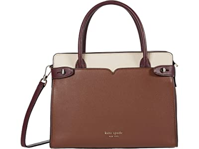 Kate Spade New York Clean Toujours Medium Satchel (Hazelnut Multi) Handbags