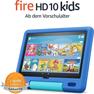 Das neue Fire HD 10 Kids-Tablet│ Ab dem Vorschulalter | 25,6 cm (10,1 Zoll) großes Full-HD-Display (1080p), 32 GB, kindgerechte Hülle in Himmelblau